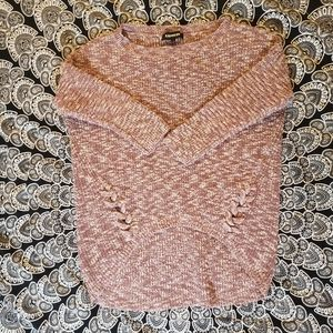 Express Small Marbled Pink Hi Low Sweater